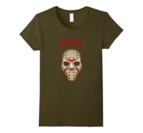Womens Boo Shirt, Halloween Costume, Jason Mask Shirt XL Olive