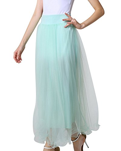 Faldas Mujer Largos Elegantes Maxi Multilayer Tul De Noche Fiesta Boda Falda Tutu Verde Claro