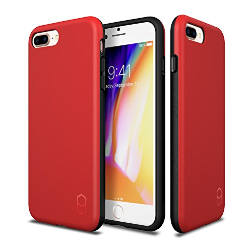 iPhone 8 Plus 7 Plus Case, Patchworks ITG Level Case in [Red] Rough Side Texture Grip Drop Protection Anti-Fingerprint Matte Surface Slim Fit Solid Case for iPhone 8 Plus (2017) iPhone 7 Plus (2016)