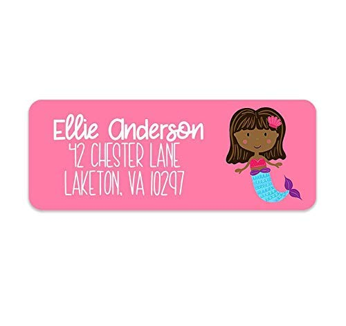 Amazon com: Kids Mermaid Address Labels - Girls Address