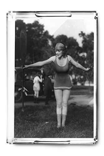 Girl in Bathing Suit Holding Up Oar Photograph (Acrylic Serving Tray)