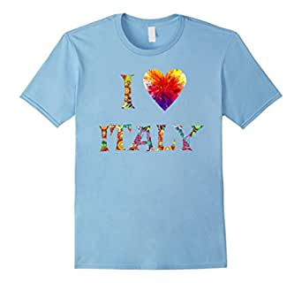Men's I Love Italy T-Shirt - I Love T-Shirt, Bright Italy T-Shirt 3XL Baby Blue