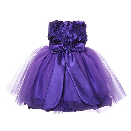 NancyAugust Blossom Flower Satin Infant Girl Birthday Dress S-XL-Purple-L