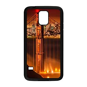 Samsung Galaxy S5 Cases Fog over the Golden Gate Bridge, Samsung Galaxy S5 Cases Bridge for Guys, [Black]