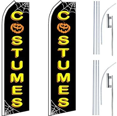 2 Swooper Flutter Feather Flags plus 2 Poles /& Ground Spikes COSTUMES Spider Web Black Yellow White