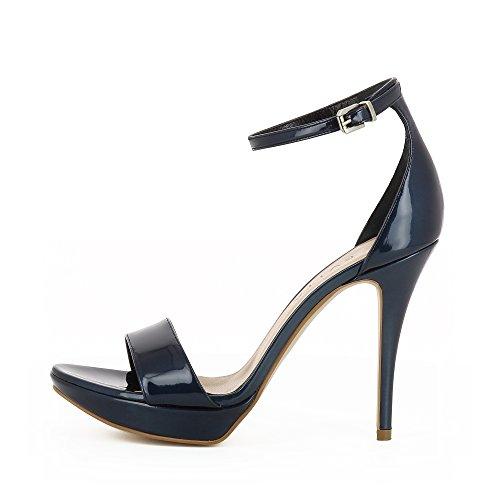 Evita Shoes Valeria Damen Sandalette Lackleder Dunkelblau