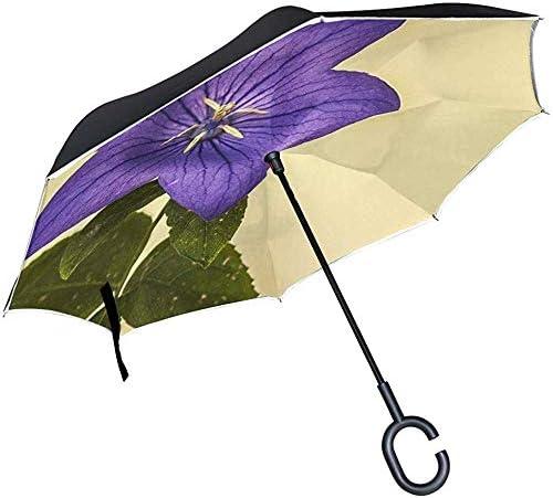 Alice Eva Umgekehrter Regenschirm Chinesische Glockenblume Blaue Blume Blume Natur Gartenschirme Umgekehrter Taschenschirm Großer, gerader Regenschirm