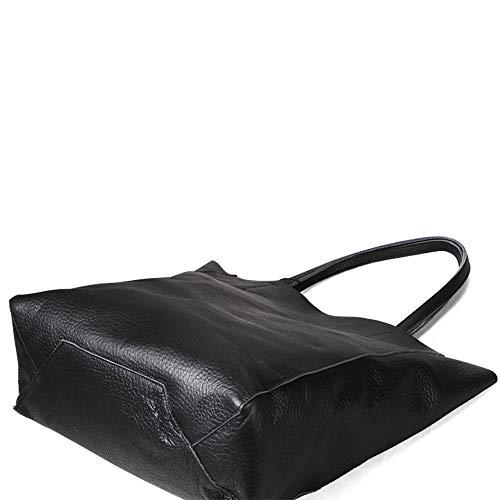 Black Satchels Bags Cowhide Shoulder grain Women Totes Genuine Leather Hobo Supple Bags Handbags Bags Natural Full xn1ZTn6