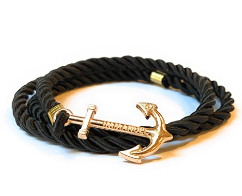 Nautical Nylon Rope Wrap Around Bracelet with Gold Colored Anchor Charm for Men Women Teen 22 Inch 2nd Gen (Black)