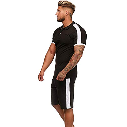 2-Piece Fashion Suit Mens Summer Leisure Stripe Color Collision Short Sleeve Shorts Sports Thin Sets Black