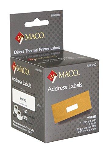 MACO Direct Thermal Printer White Address Labels, 1-1/8 x 3-1/2 Inches, 130 Per Roll, 260 Per Box - 3.5 130 Label