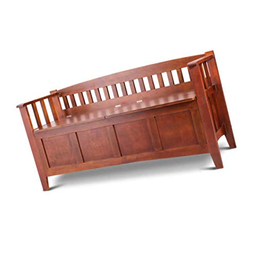 Wood Entryway Storage Bench Home Furni W/Short Split Seat Brown 32 Gallon Solid New ()