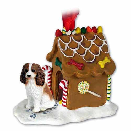 Cavalier King Charles Spaniel Gingerbread House Christmas Ornament Brown-White - - White Ginger Ornaments