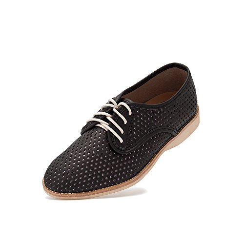 Rollie Women's Derby Punch Overlay Black/Rose Gold_1, Black with Rose Gold Inlay Leather Oxfords Black Flat Shoes for Women with Holes Perforations, Size 6 US / 37 ()