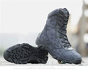 dee4e06b2a4cf Amazon.com: DengSha Military Boots Men Black Python Combat Shoes ...