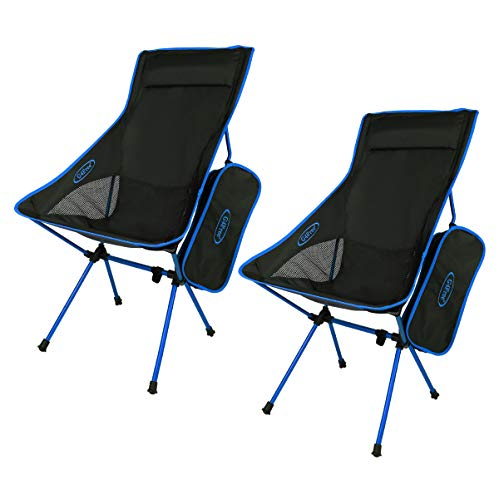 G4Free Portable Camping Chairs Folding Chairs Outdoor Backpacking Chair,2 Pack High Back Camp Chairs(Dark Blue)
