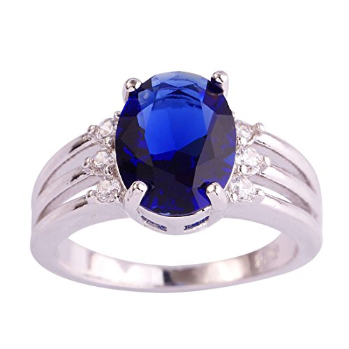 Psiroy 925 Sterling Silver Oval Shaped Created Blue Sapphire Filled Anniversary Ring (Ring Created Lab Sapphire)