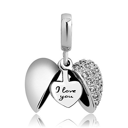ShinyJewelry I Love You Heart Charm Dangle Synthetic White Crystal Bead for European Bracelet Necklace ()
