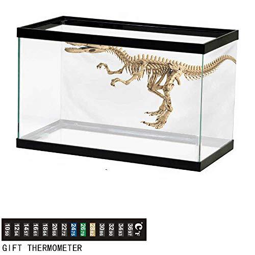 wwwhsl Aquarium Background,Dinosaur,Fossil Dino Skeleton Bones Realistic Image Dangerous Dead Extinct Reptile,Pale Brown White Fish Tank Backdrop 30