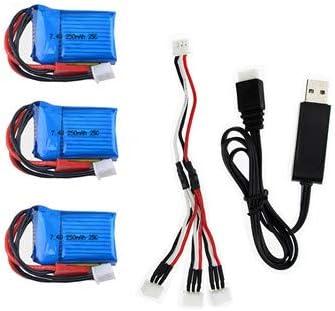 Amazon.com: 3 piezas 7.4V 250mAh 25C Tarjeta Corta Li-po ...