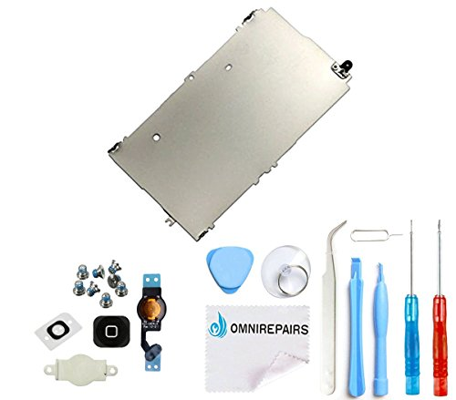 Omnirepairs-Home Button Flex Cable Replacement with Home Button Bracket, Rubber Gasket, Screw Set, Metal Shiled Backplate and Toolkit for Black For iPhone 5 A1428 A1429, A1442