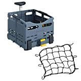 Topeak Trolley Tote Folding Rear Bike Basket (Transforms Into Shopping Cart with Handle) and Cargo Net Kit