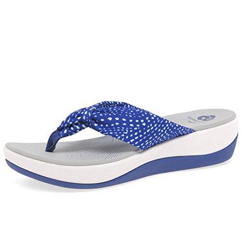 clarks-arla-glison-blue-white-textile-womens-sandals-75-us