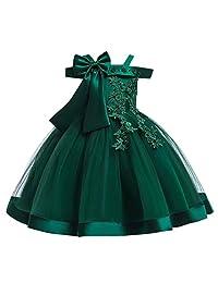DKmagic Child Girls Lace Bowknot Heart Princess Wedding Performance Formal Dress Clothes