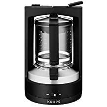 KRUPS KM4689 Moka Brewer Coffee Maker Machine with Permanent Filter and Glass Carafe, 10-Cup, Black