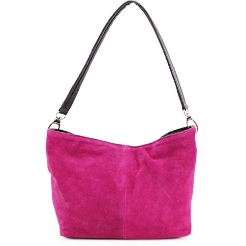 (Italian Real Suede Leather Shoulder Handbag Ladies Tote Weekend Bag Slouch UK (Fuchsia))