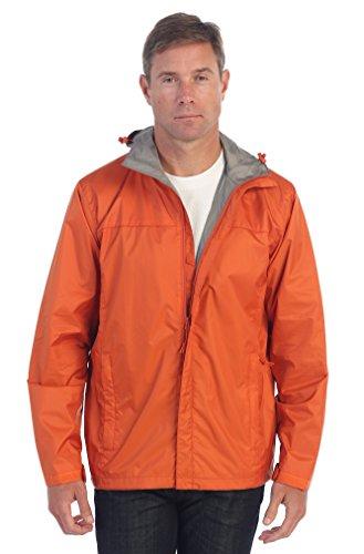 Adjustable Hood - Gioberti Men's Waterproof Rain Jacket, Orange, XXL