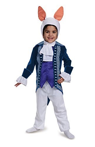 Deluxe White Jumpsuit Costumes (White Rabbit Toddler Deluxe Disney Costume, Medium/3T-4T)