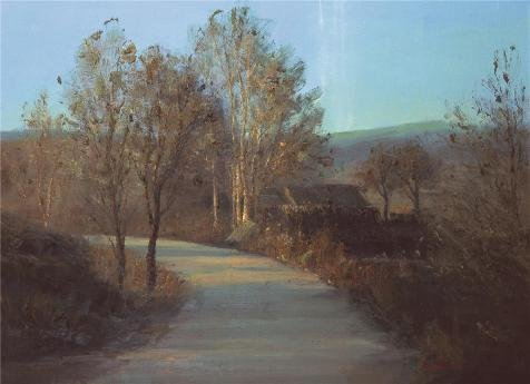 'Landscape Of A Path' Oil Painting, 24x33 Inch / 61x84 Cm ,printed On Perfect Effect Canvas ,this High Resolution Art Decorative Canvas Prints Is Perfectly Suitalbe For Powder Room Decoration And Home Gallery Art And Gifts