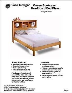 Reina – Estantería para libros cabecero de cama carpintería proyecto Planes, # 3bcs1 por diseño de Planes