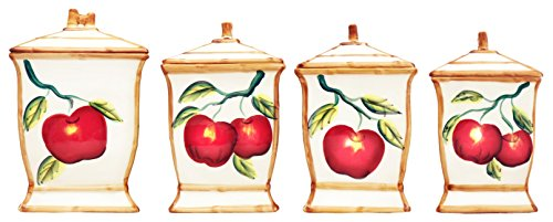 Tuscany Red Apple with Bamboo Trim Hand Painted, Canister Set of 4, 84301 by (Apple Canister Sets)