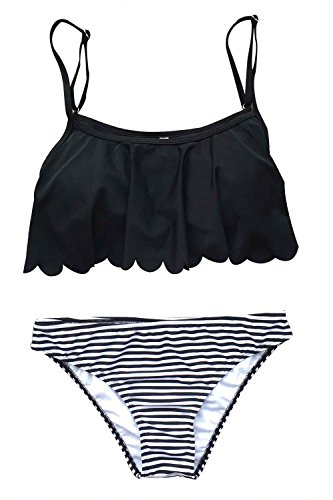 Joy&Bella Solid Black Falabla Ruffled Flounce Top Triangle Brazilian Stripe Bottom Bikini Set Padded Bathing Suit Swimwear (S(US 4-6)) (Underwire Ruffled Bikini)