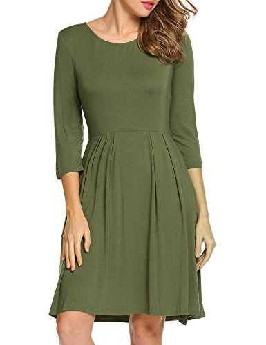 HOTOUCH Women's Summer long Sleeve Flared Causal Midi Dress(Olive Green XL)