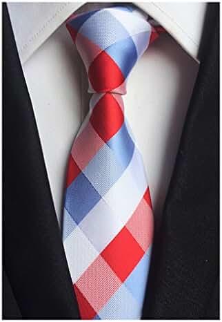 MENDENG Red Blue White Silk Plaid Checks JACQUARD WOVEN Men's Tie Party Necktie