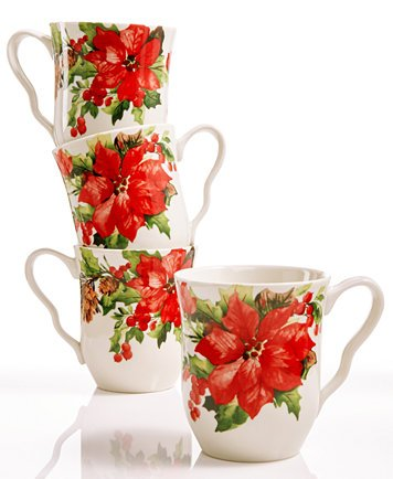 222 Fifth Winter Poinsettia Mugs, Set of Four ()