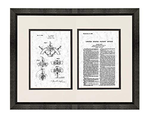 Boat's Steering Wheel Patent Art Gunmetal Print in a Beveled Black Wood Frame with a Double Mat (20