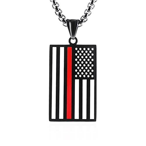 HZMAN Stainless Steel Men's American Flag Dog Tag Pendant Necklace,Gold and Silver (Firefighter - Red)