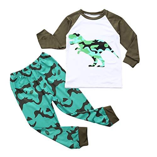 Babykledingset, pasgeborenen baby jongens dinosaurus print tweedelige pyjama lange mouwen tops + broek pyjama sets 18-7…