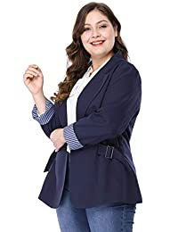 Agnes Orinda Women's Plus Size Contrast Stripe Cuff Notched Lapel Casual Blazer