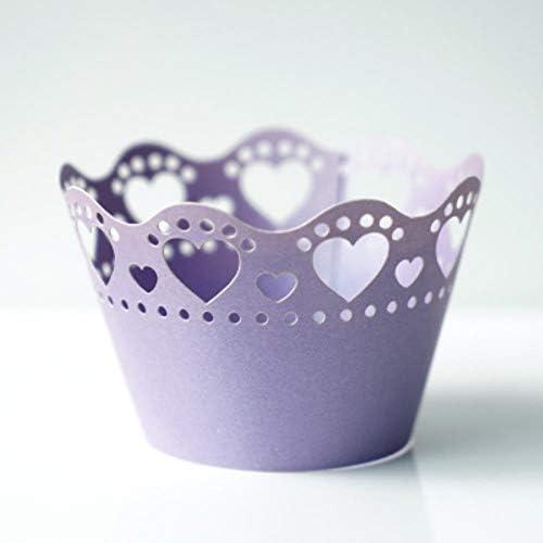 FSHB 10 Teile/Paket Hochzeit Cupcake SeiteHerzform aushöhlen Papier Cupcake backformen Kuchen Werkzeuge weiß/blau/rosa/Silber, lila