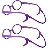 SHINKODA Silicone Anti-slip Kids Sports Glasses Strap and Ear Hooks Safety Eyewear Retainer, Pack of 2 - Purple