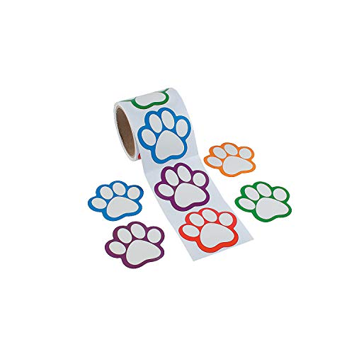 Paw Print Name Tags/Labels -100 ct -