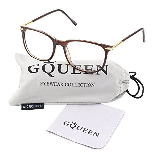 GQUEEN 201579 Fashion Metal Temple Horn Rimmed Clear Lens - Brown Rimmed Glasses