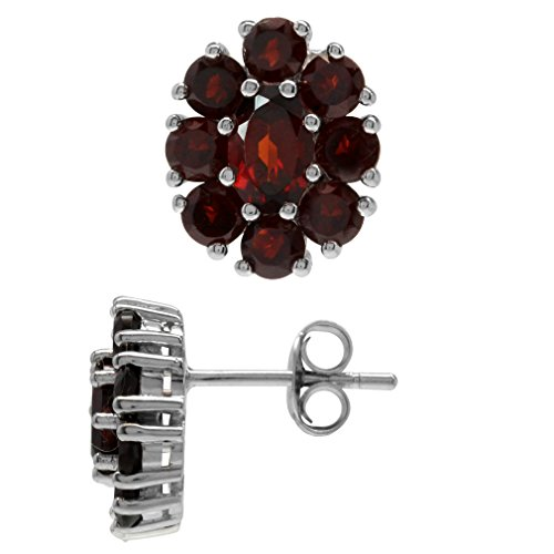 (3.62ct. Natural Garnet White Gold Plated 925 Sterling Silver Flower Cluster Post Earrings)