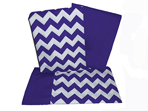 (Baby Doll Bedding Chevron Pillowcase and Sheet Set for Crib and Toddler Bed, Plum)