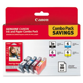 4479a292 (Bci-3e/bci-6) Ink & Paper Combo Pack, Black/Cyan/Magenta/Yellow (Bci Cyan 6 Printer Cartridge)